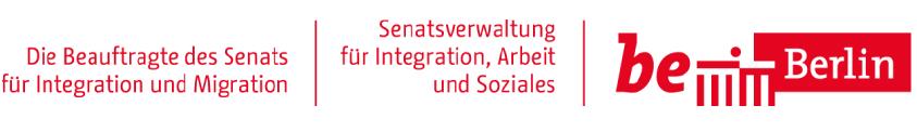 LOGO, Senatsverwaltung für Integration, Arbeit und Soziales. Der Beauftragte des Senats für Integration. be Berlin.